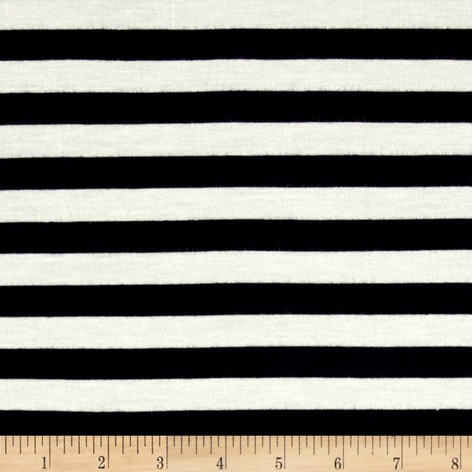 Rayon Spandex Jersey Knit 1/2'' Stripe Ivory/Navy Fabric By The Yard