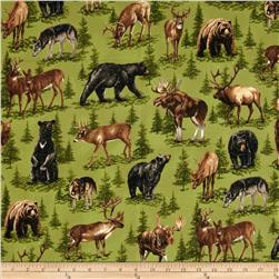Nature Studies Flannel Forest Animals Sprig Green Fabric