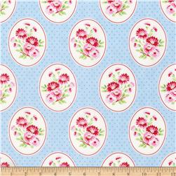 Tanya Whelan Rambling Rose Granny's Wallpaper Blue