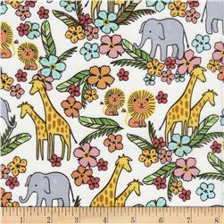 Timeless Treasures Safari Crush Jungle Animals White