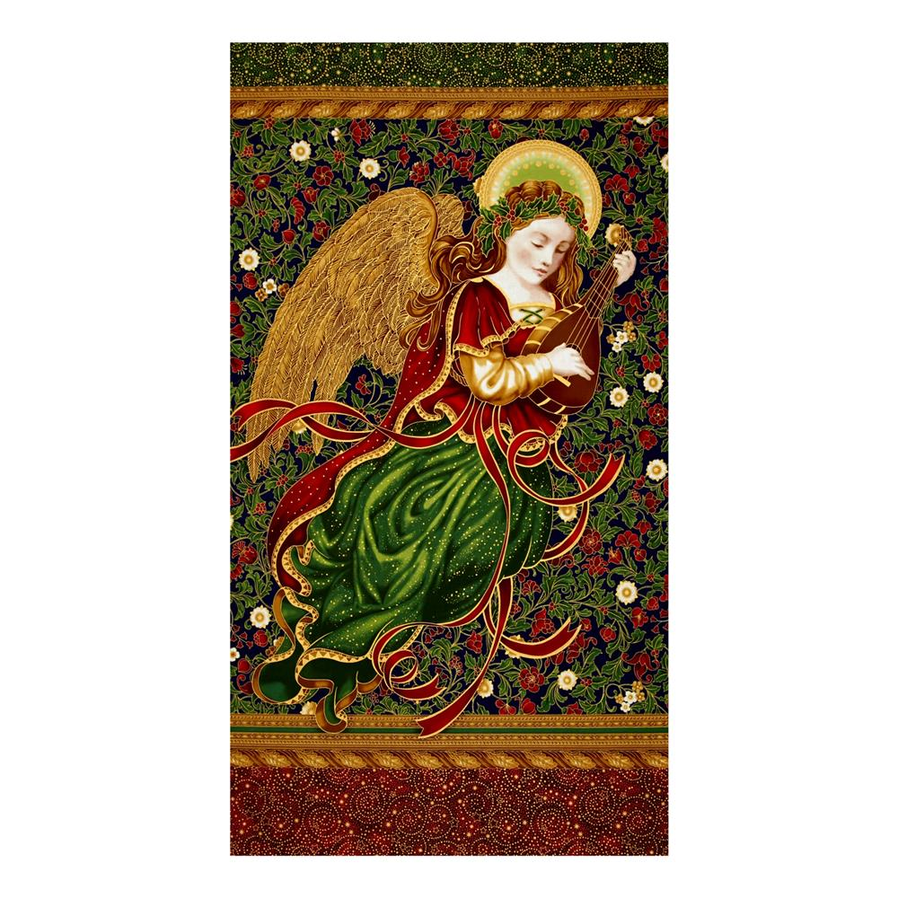 Kaufman Holiday Flourish Metallics Angel 24 In. Panel Royal