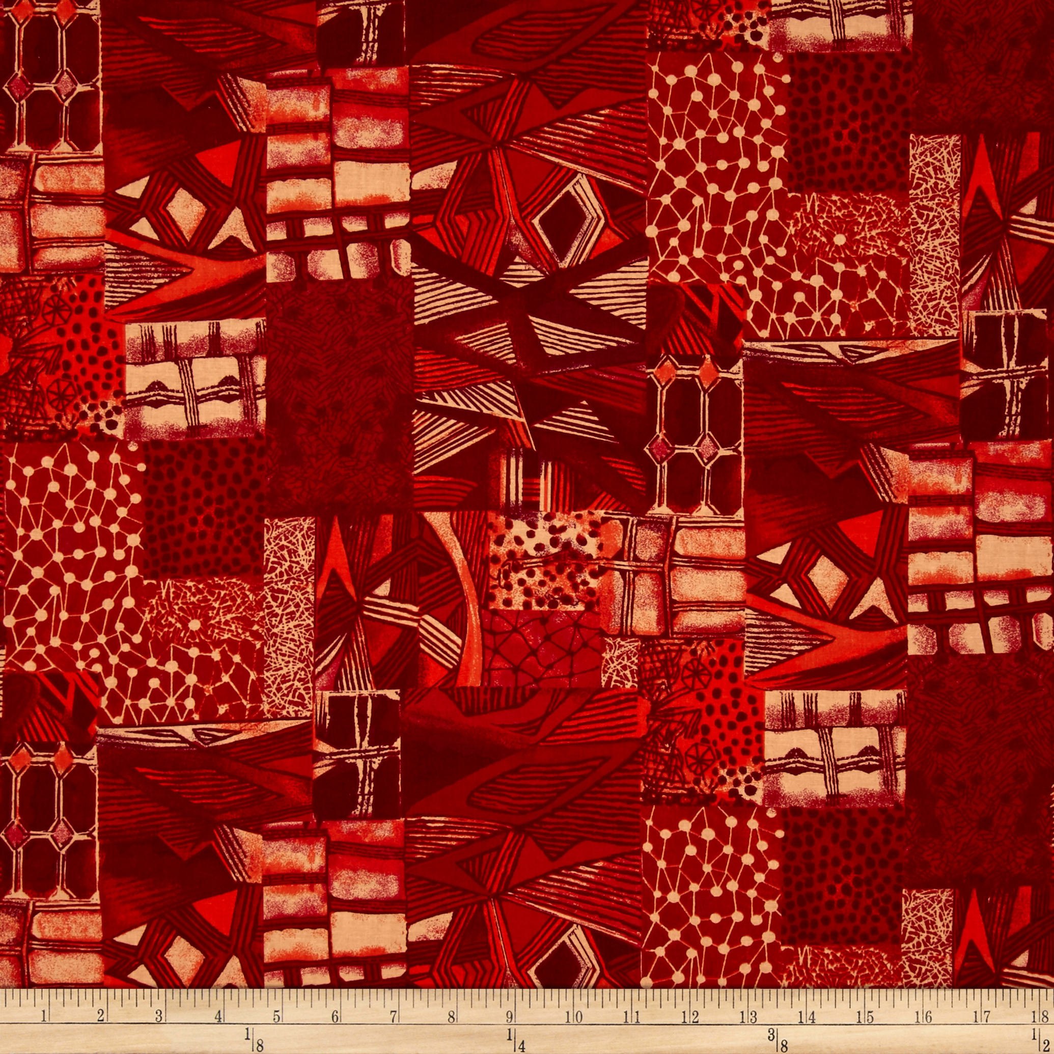 Jakarta Abstract Red Fabric by Santee in USA