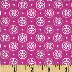 Cotton Poplin Floral Dot Hot Pink