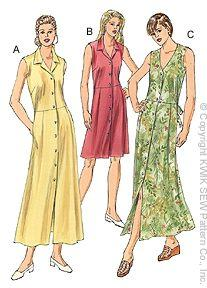 Kwik Sew Sleeveless Shirtdresses Pattern