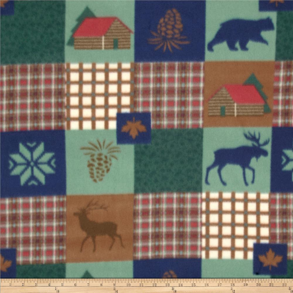 COMBINE Fleece Print Moose Green/Blue