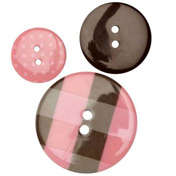 Fashion Buttons 3/4'', 1.00'', 1 3/8'' Coordinates Plaid Pink