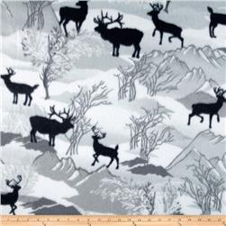 Winterfleece Deer Grey Fabric