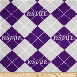 Collegiate Fleece Kansas State Argyle Royal Purple Fabric