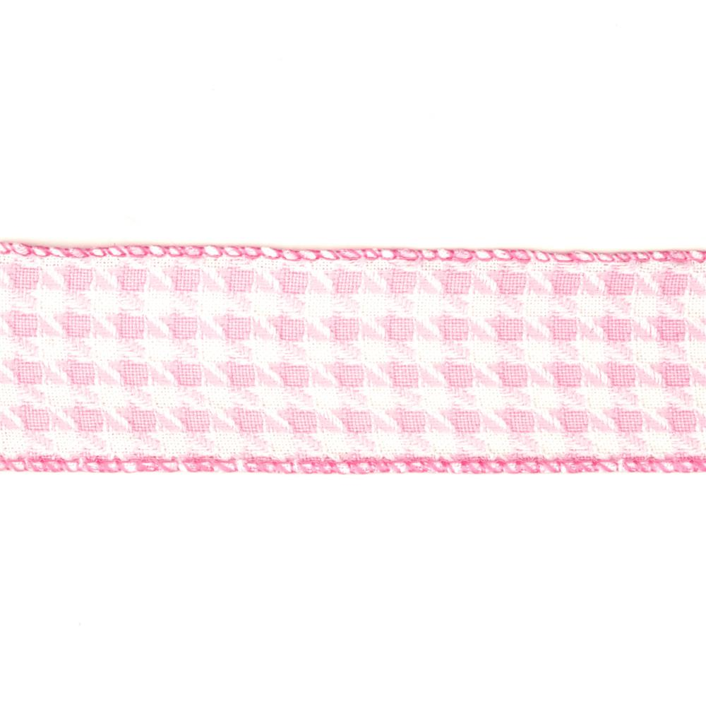 "1 1/2"" Houndstooth Nylon Edge Ribbon Pink"