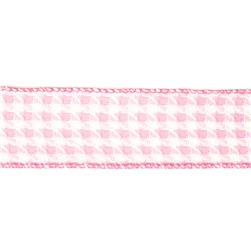 1 1/2'' Houndstooth Nylon Edge Ribbon Pink