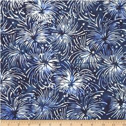 Island Batik Quilted in Honor Batik Fireworks Navy