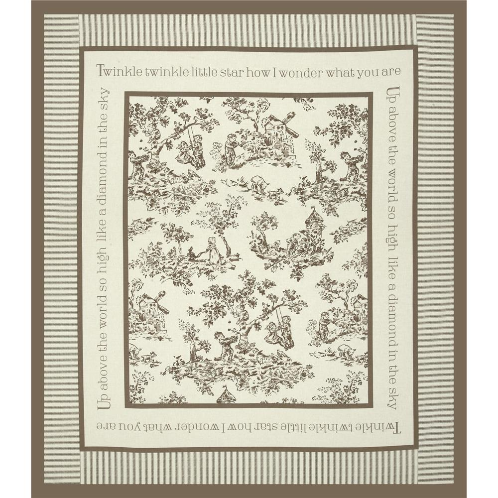 Nursery Rhyme Toile Panel Beige