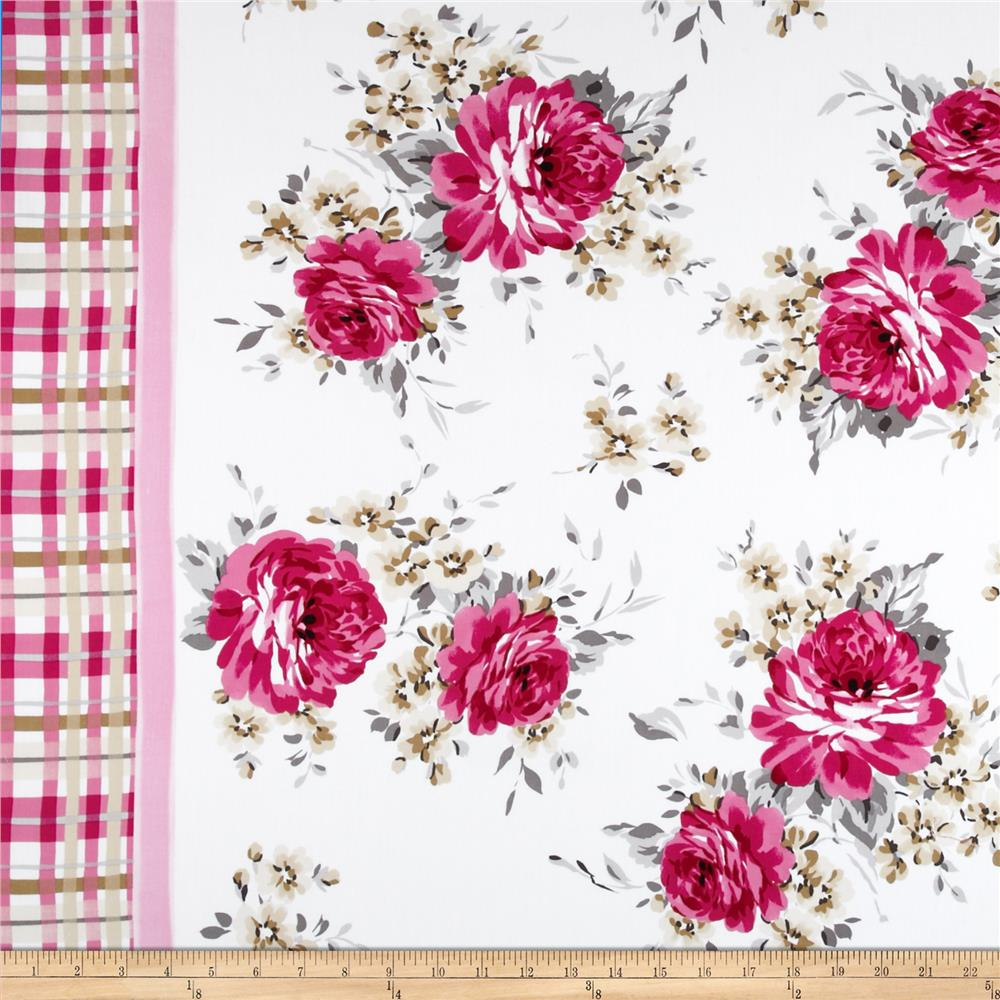 Stretch Poplin Floral Double Border Pink/Tan/Grey/White