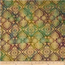Indian Batik Tribal Small Medallion Metallic Rose/Green