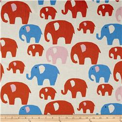 Kokka Canvas Nordic Animals Elephants Red