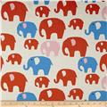 Kokka Trefle Linen Blend Canvas Elephants Red