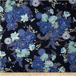 Timeless Treasures Imperial Garden Metallic Floral Navy