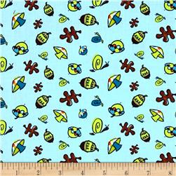 Frolicking Forest Forest Floor Blue Fabric
