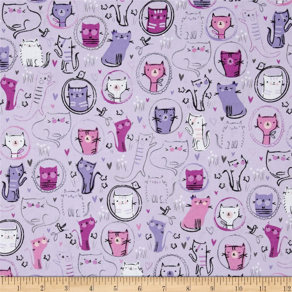 Kaufman Whiskers & Tails Crazy Cats Lilac