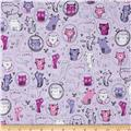 Robert Kaufman Whiskers & Tails Crazy Cats Lilac