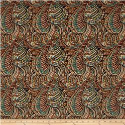 Brazil Stretch ITY Jersey Knit New Paisley Black/Brown/Teal/Olive