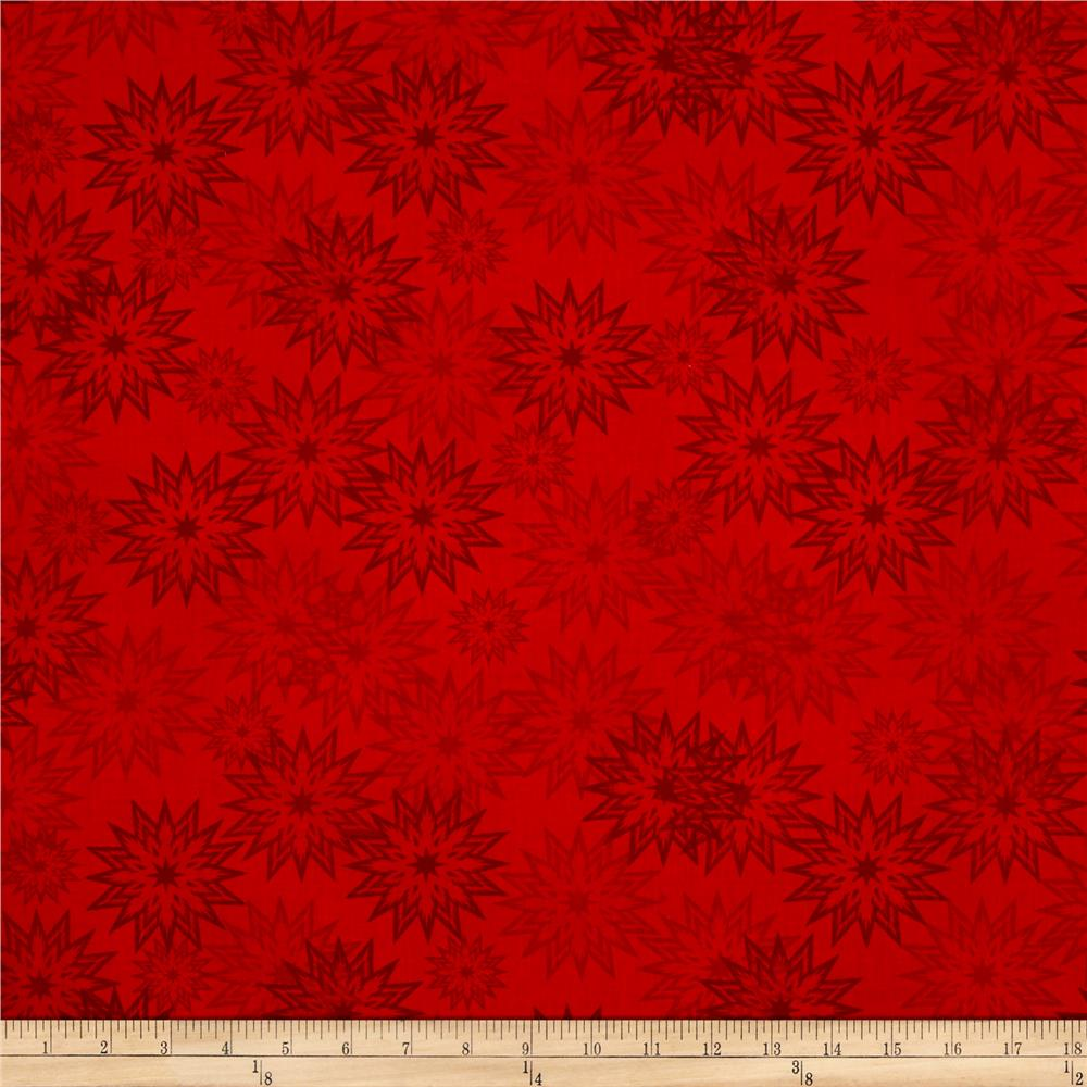 Timeless Treasures Forever Snowflakes Light Salsa Fabric By The Yard