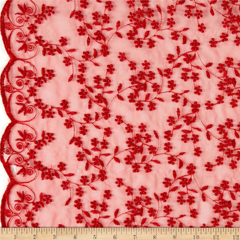 Telio Daisy Embroidery Red