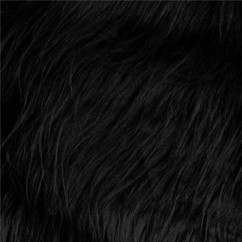 Faux Fur Long Shag Black