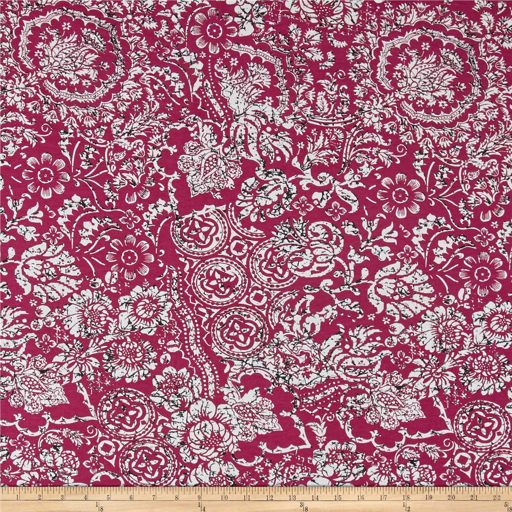 Italian Designer Rayon Jersey Knit Floral Medallion Cranberry/White Fabric