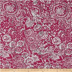 Italian Designer Rayon Jersey Knit Floral Medallion Cranberry/White