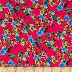 Rayon Challis Small Floral Blue/Light Blue/Red Fabric