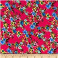 Rayon Challis Small Floral Blue/Light Blue/Red