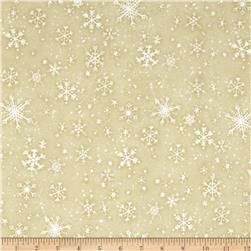 Snow Babies Flannel Snow Flakes Tan