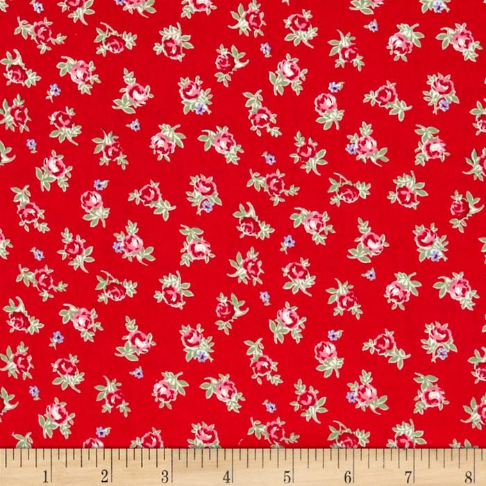 Lecien Flower Sugar Small Rose Toss Red