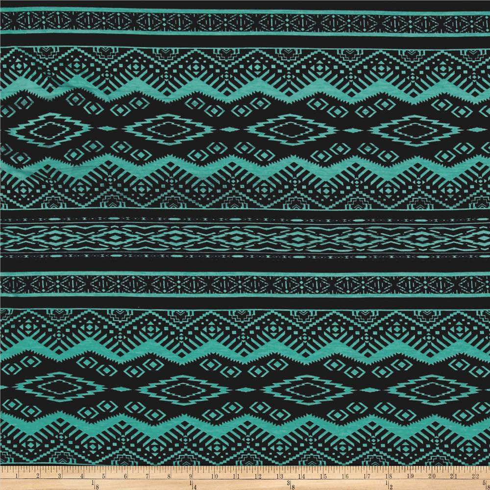 Jersey Knit Aztec Black Turquoise