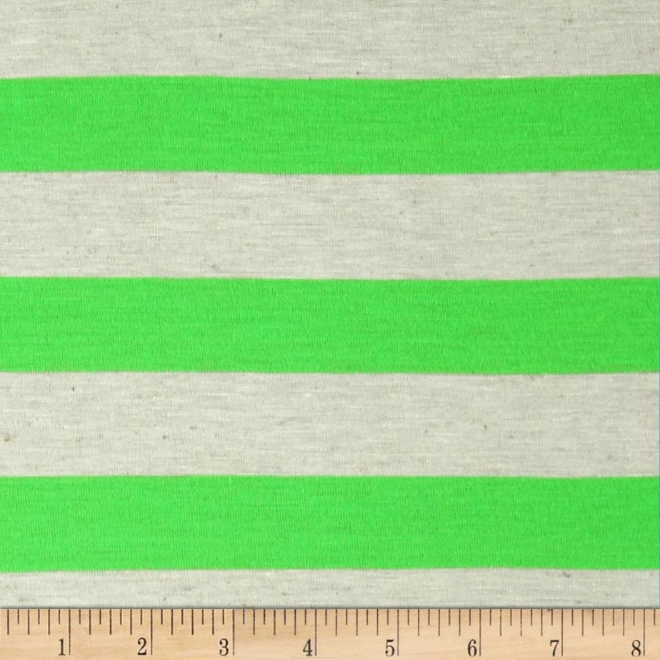 Yarn Dyed Jersey Knit Stripes Neon Lime/Oat