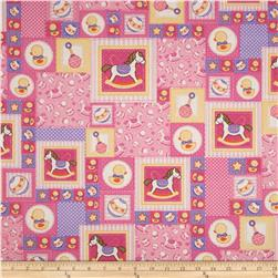 Baby Talk Rocking Horses/Ducks Patchwork Pink Fabric