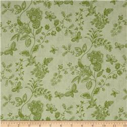 "108"" Wide Quilt Back Floral Butterfly Green"