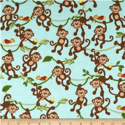 Comfy Flannel Monkeys on Vines Blue Fabric