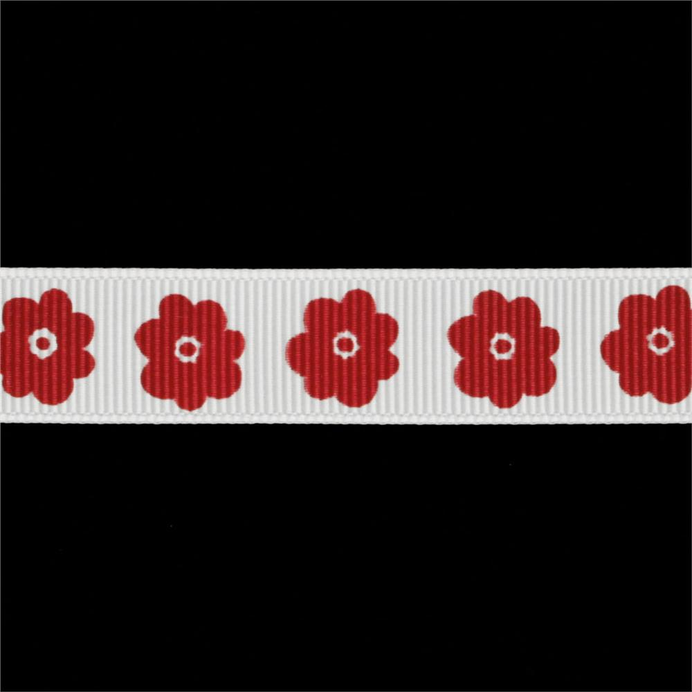Riley Blake 5/8'' Grosgrain Ribbon Flower Red