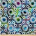 Indian Batik Cascades Daisy Green/Blue/Purple