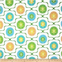 Monaco Large Floral White Fabric