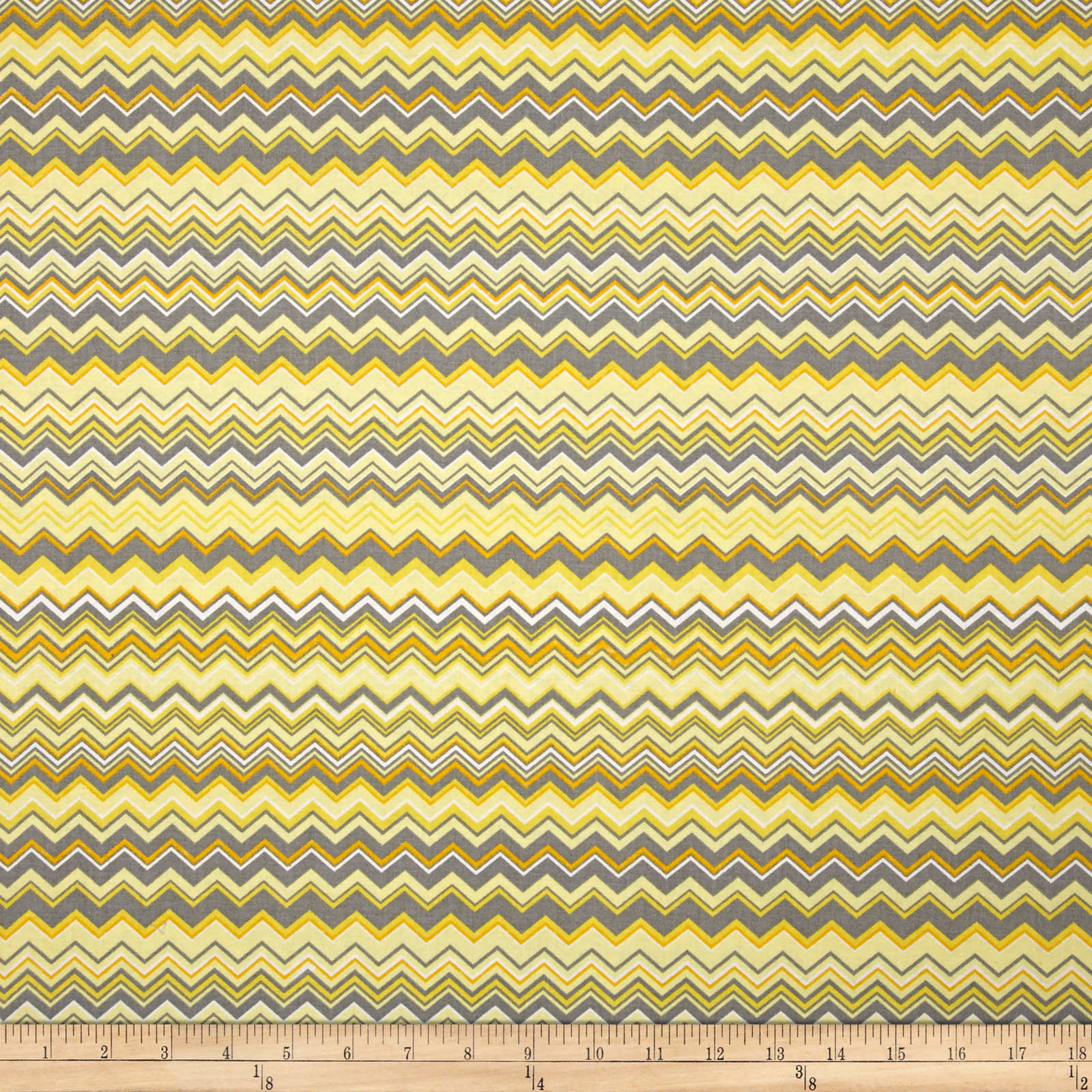 A.E. Nathan Chevron Yellow/Grey/White Fabric