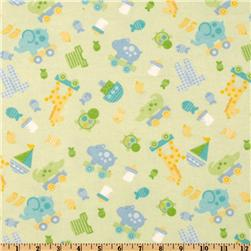 Riley Blake Bitty Baby Flannel Flannel Tossed Toys Green