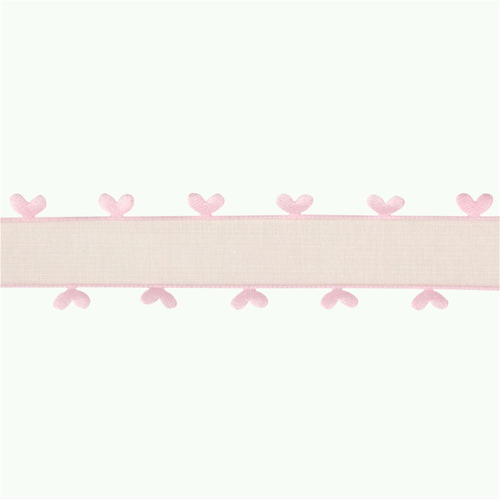 1'' Organza Ribbon Heart Edge Pink