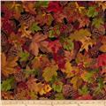 Timeless Treasures Cabin Flannel Leaves Autumn