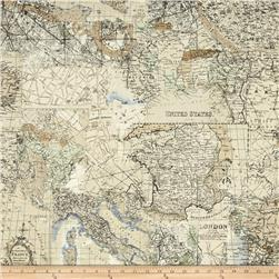 Vintage Travel Map Cream