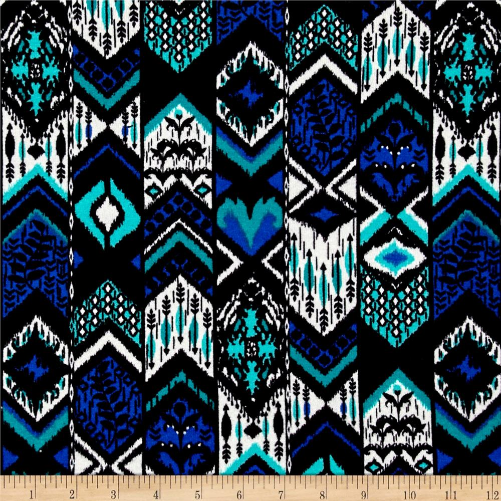 Hatchi Lightweight Sweater Knit Tribal Leaves and Arrows Azure/Green