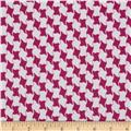 Charmeuse Satin Geometric Houndstooth Fuchsia/White
