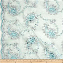 Coco Paisley Sequin Lace Mint and Silver